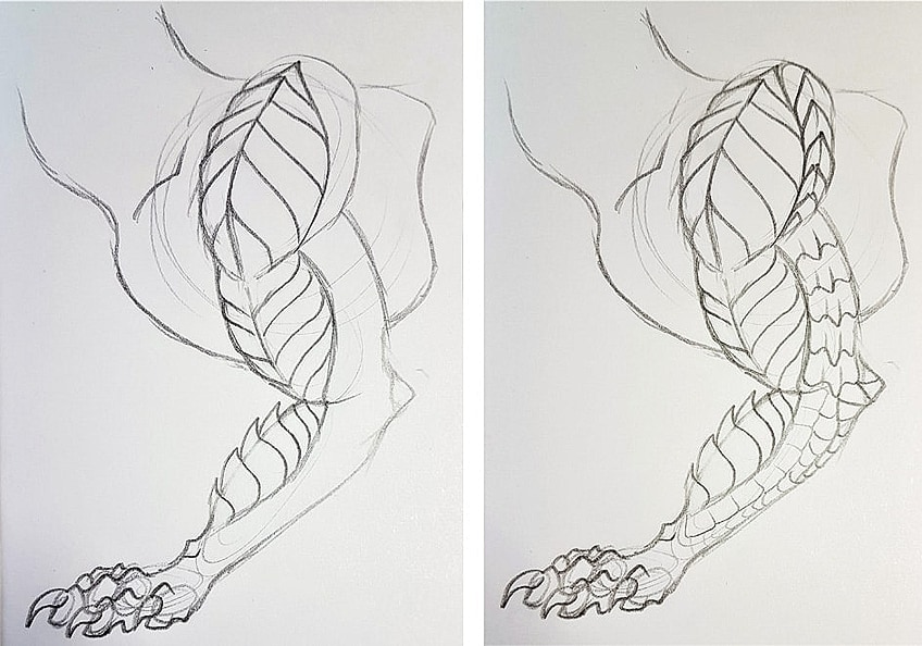 Drawing Dragon Scales Step 2