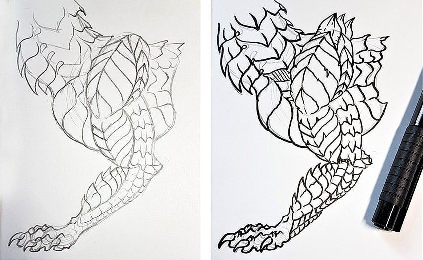 Drawing Dragon Scales Step 3