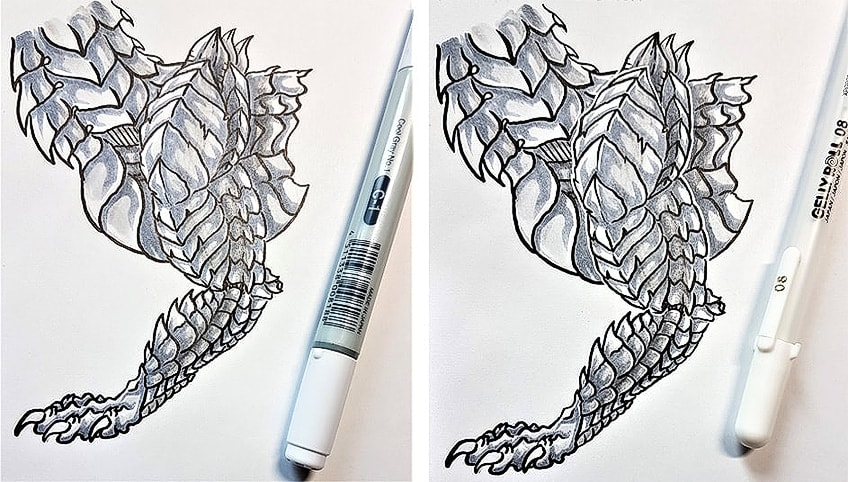 Drawing Dragon Scales Step 4