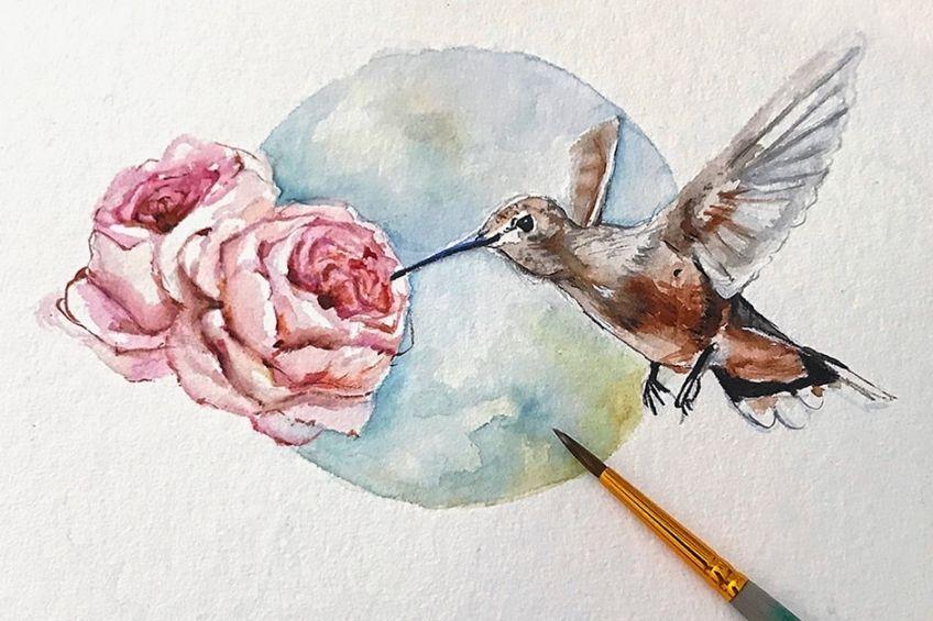 Watercolor Rose Drawing
