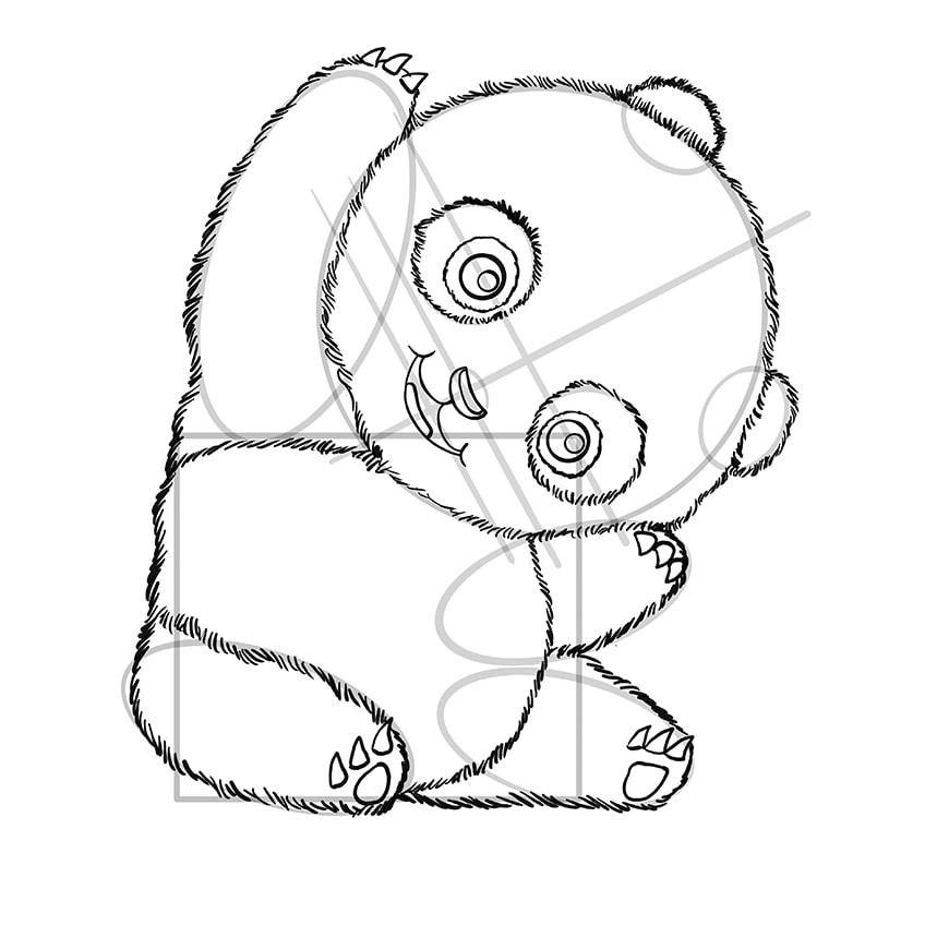 Cute Panda Drawing Step 09