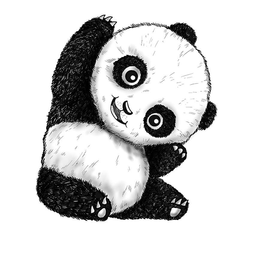 Cute Panda Drawing Step 11