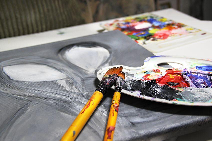 Painting with Dark Grayish Purple
